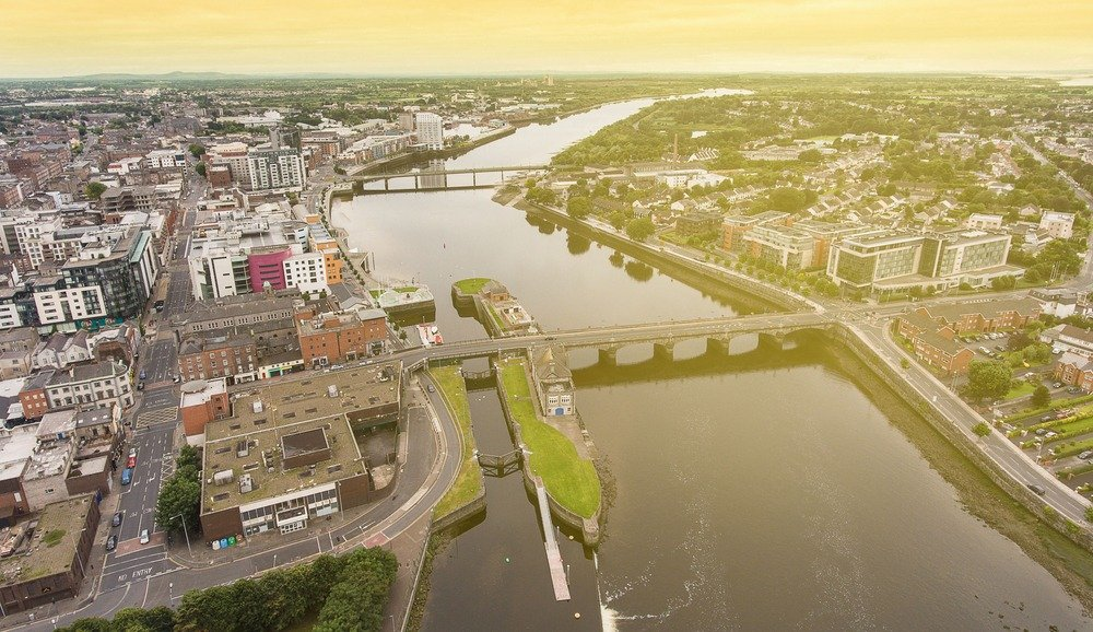 Birds,Eye,Aerial,View,Cityscape,Of,Limerick,City,Skyline.,Ireland's